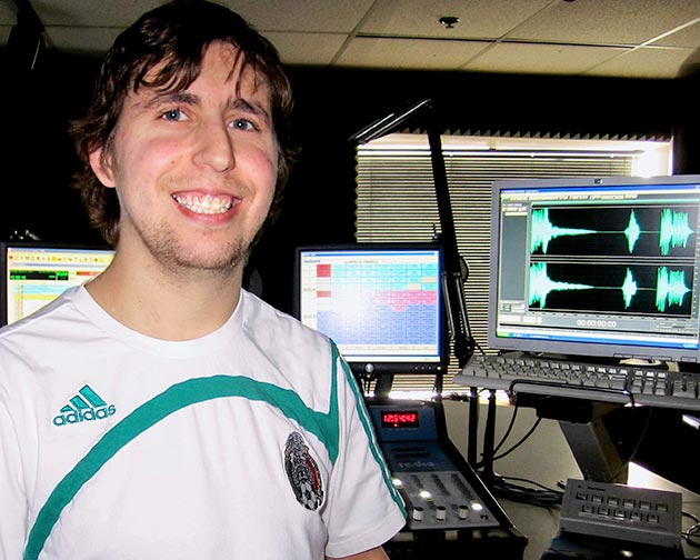 Kyle Evans is working hard at his internship with KIAK-FM.