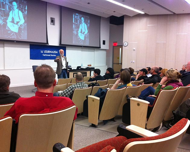Snedden Chair Richard Murphy discusses his work during a recent free Snedden Lecture at UAF's Murie Auditorium.